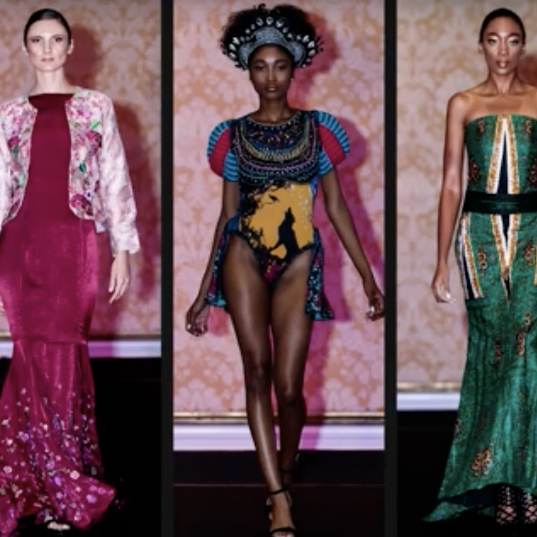 runway image of model with dresses from designer